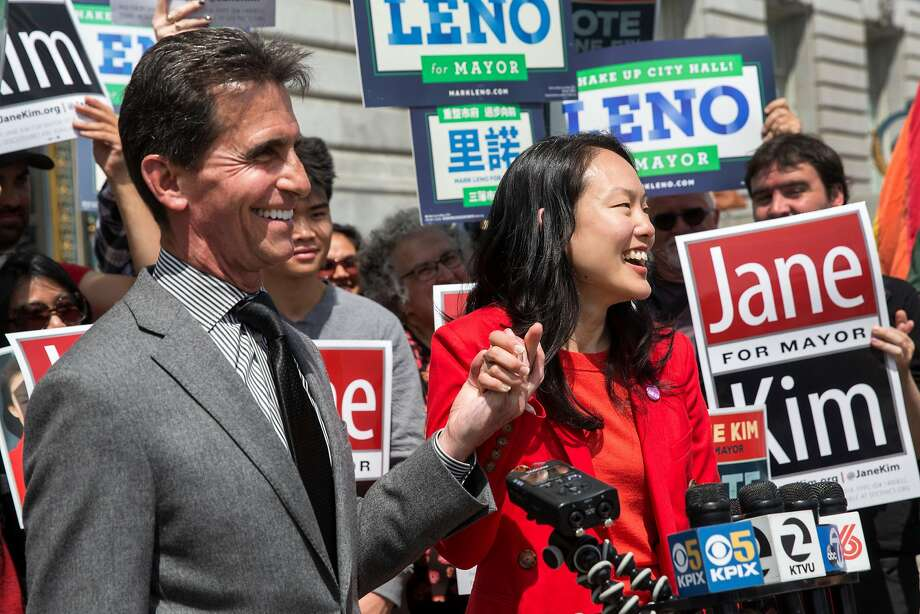 San Francisco mayoral candidates Mark Leno and Jane Kim announce their campaign to draw voters to each other in the city's ranked-choice voting system. Photo: Jana Asenbrennerova / Special To The Chronicle