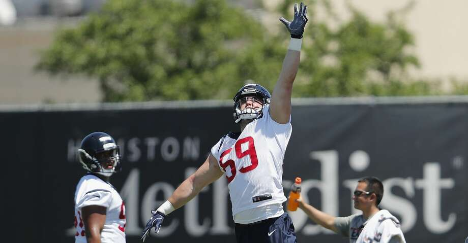The Texans cut reserve defensive end Matthew Godin with a failed physical designation. Photo: Tim Warner/For The Chronicle