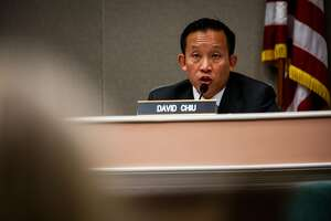 Assembly member David Chiu (center) speaks during a hearing to decide whether or not to repeal the Costa-Hawkins Rental Housing Act at the State Capital in Sacramento, Calif., on Thursday, Jan. 11, 2018.  The Costa-Hawkins Rental Housing Act did not pass.