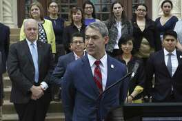 San Antonio Mayor Ron Nirenberg delivers a stern warning on Feb. 28, 2018, on the steps of City Hall about the possible harm that would result from the three amendments to the city charter sought by members of the San Antonio Professional Firefighters Association.