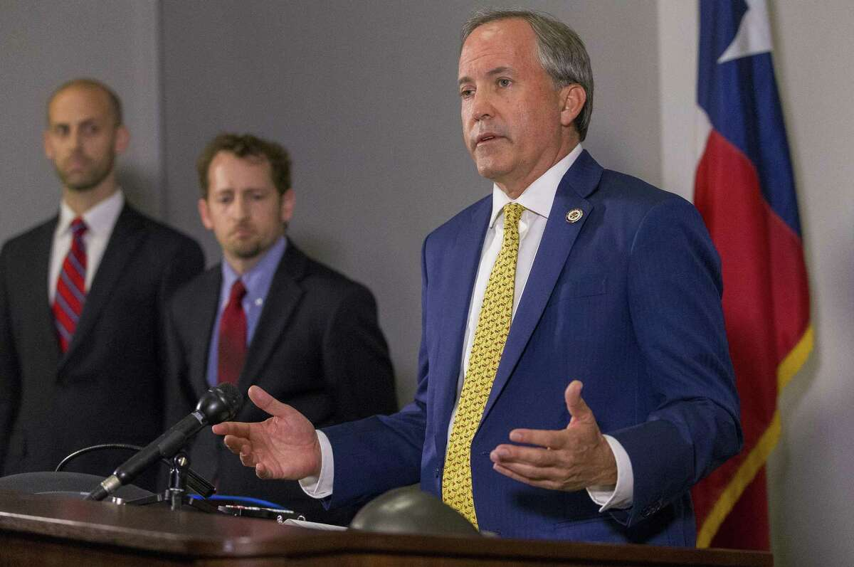 Texas Attorney General Ken Paxton speaks at a press conference on May 1, 2018. (Stephen Spillman / for Express-News)