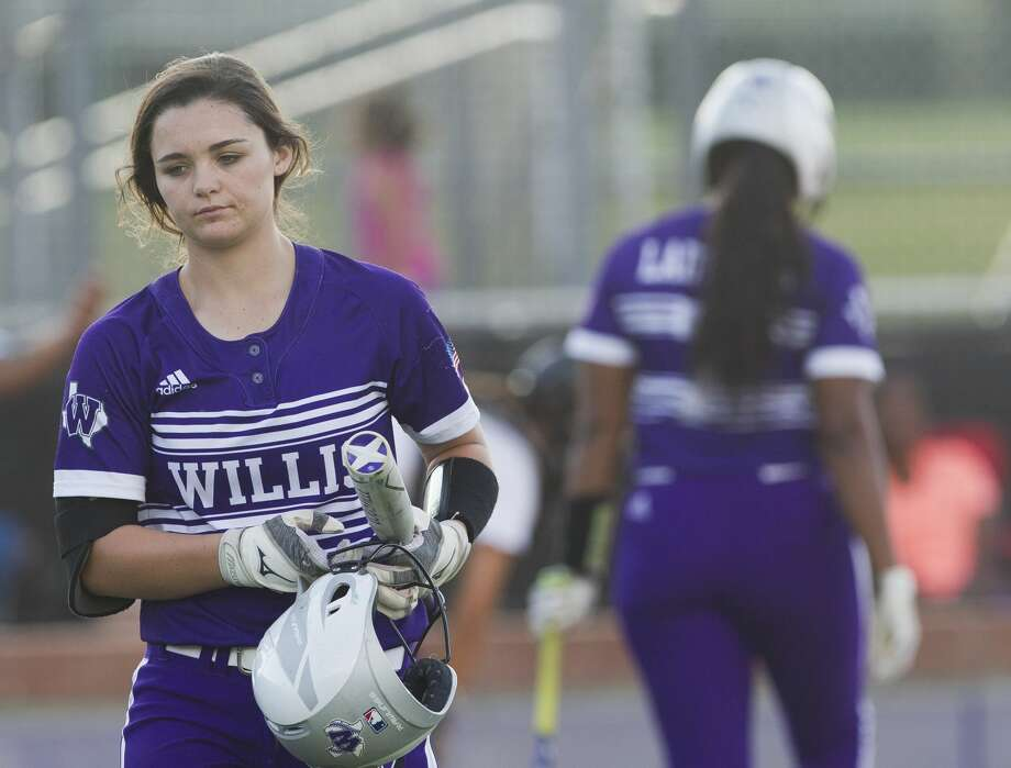 McKenzie Parker #9 of Willis reacts after striking out during the seventh inning of Game 2 in a Region III-5A quarterfinal series on Friday, May 11, 2018, in Montgomery. College Station defeated Willis 6-1. Photo: Jason Fochtman/Houston Chronicle
