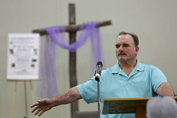 David Colbath, who was shot eight times, shares his testimony and story of the massacre at his church, First Baptist Church of Sutherland Springs, during a men's bible study at The Country Church in Marion on March 10, 2018.