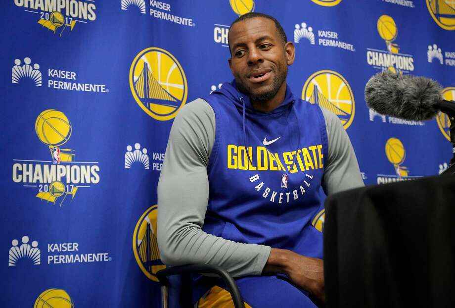 Warriors Andre Iguodala, 9 talks to the media during a practice session at their facility in downtown  in Oakland, Ca. on Fri. May 11, 2018. Photo: Michael Macor / The Chronicle