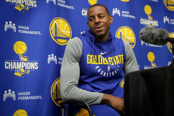 Warriors Andre Iguodala, 9 talks to the media during a practice session at their facility in downtown  in Oakland, Ca. on Fri. May 11, 2018.