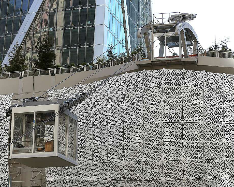 Salesforce will be operating an aerial tram to the Transbay Transit Center's rooftop garden when it opens this summer. Photo: Liz Hafalia / The Chronicle
