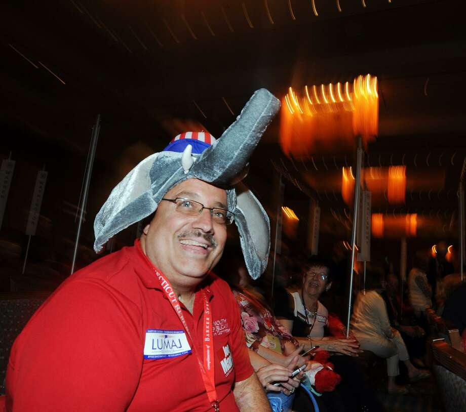 Delegate Dan Gentile of Plymouth wore an elephant hat during the Republican State Convention at Foxwoods Casino, Mashantucket, Conn., on Friday. Photo: Bob Luckey Jr. / Hearst Connecticut Media / Greenwich Time