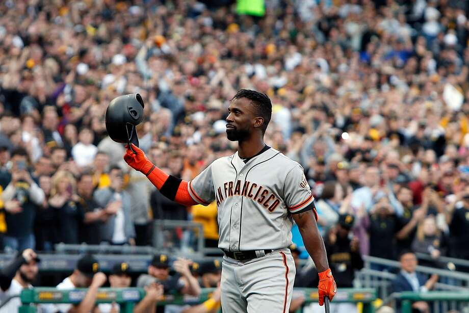 Andrew McCutchen of the Giants acknowledges the fans during a standing ovation at PNC Park in Pittsburgh. Photo: Justin K. Aller / Getty Images