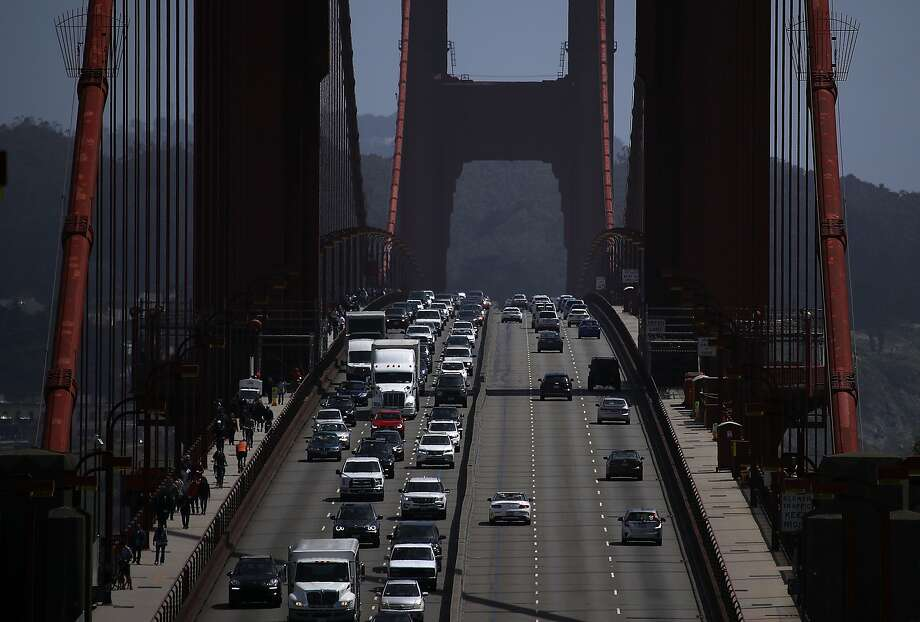 Traffic backs as it travels northbound on the Golden Gate Bridge on May 1, 2018. Photo: Justin Sullivan, Getty Images
