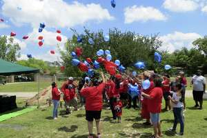 Friends and relatives of Davaughn Rodriguez, 4, who was slain in 2011, released balloons at a remembrance ceremony Friday 5-11-18 at his grave in Uvalde.v