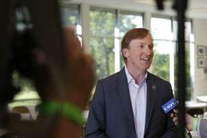Texas Democratic Gubernatorial candidate Andrew White answers questions from the media before a debate with Texas Democratic Gubernatorial candidate Lupe Valdez (not pictured) Friday May 11, 2018 at St. James Episcopal Church in Austin.