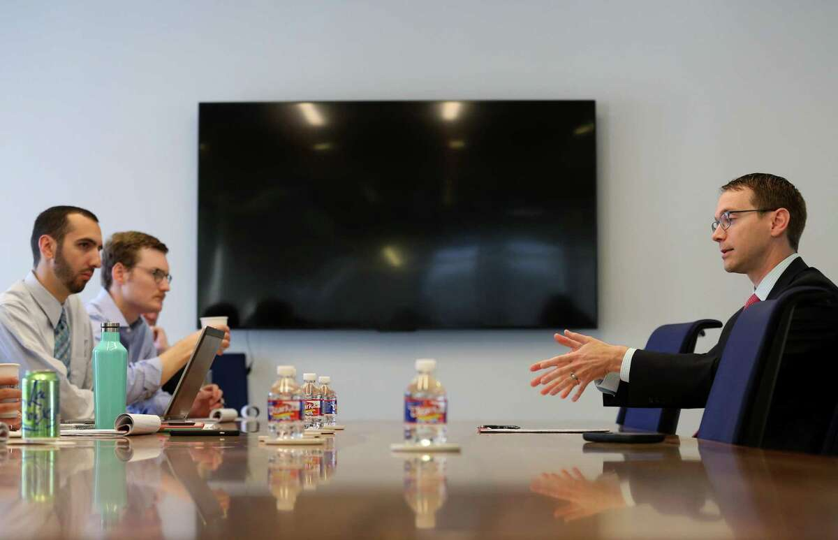 Texas Education Agency Commissioner Mike Morath speaks with the Houston Chronicle's editorial board about the looming state action against Houston ISD Wednesday, May 9, 2018, in Houston.