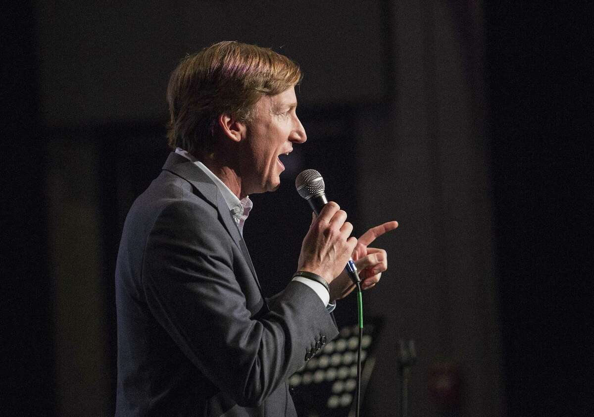 Democratic candidate Andrew White, who is running for governor addresses the crowd on April 29, 2018 during a Latino group JOLT town hall meeting in Austin, Texas.