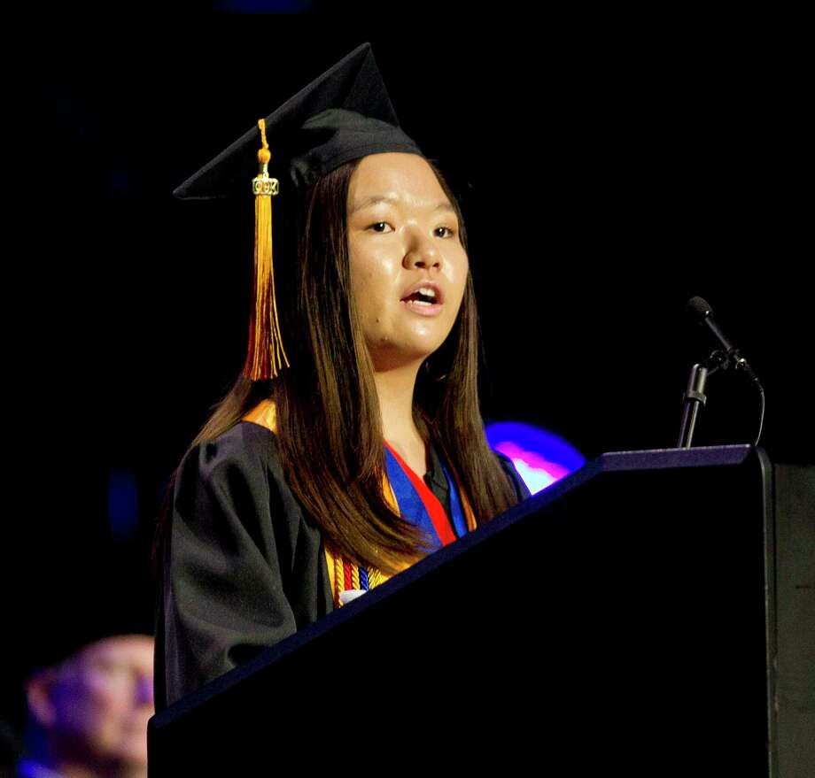 Senior Summer Johnson speaks during a graduation ceremony for Lone Star College - Montgomery at The Woodlands Church, Thursday in The Woodlands. Photo: Jason Fochtman, Staff Photographer / © 2018 Houston Chronicle