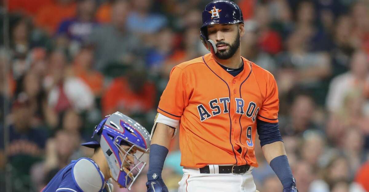 Houston Astros left fielder Marwin Gonzalez (9) reacts to striking out in the 9th inning at Minute Maid Park Friday, May 11, 2018, in Houston. ( Steve Gonzales / Houston Chronicle )