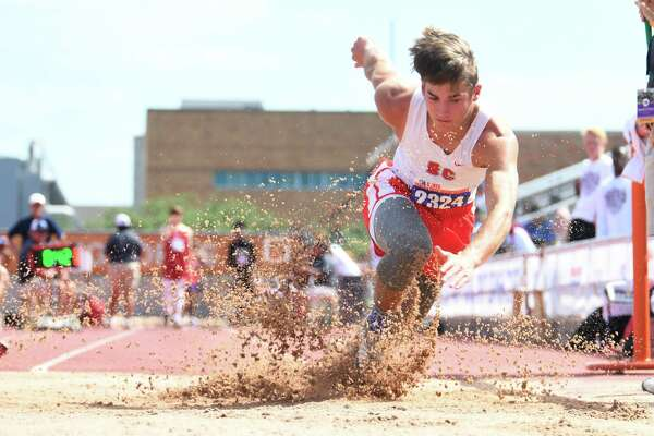 Bridge City's Max Baker competes in the long jump at the State Championship meet in Austin on Friday, May 11. Baker placed sixth in the event.  Photo taken Friday, May 11, 2018 Guiseppe Barranco/The Enterprise