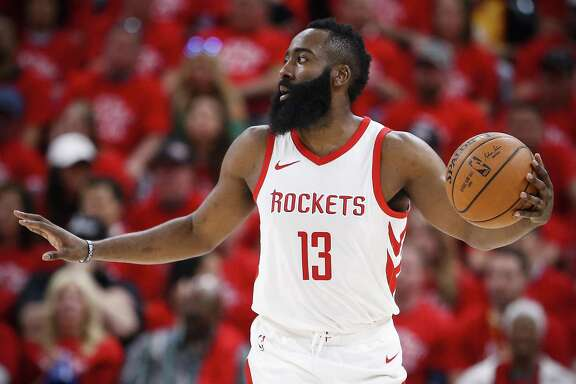 Houston Rockets guard James Harden (13) brings the ball up the court against the Utah Jazz during the first half of Game 3 of the NBA second-round playoff series at Vivint Smart Home Arena Friday, May 4, 2018 in Salt Lake City. (Michael Ciaglo / Houston Chronicle)