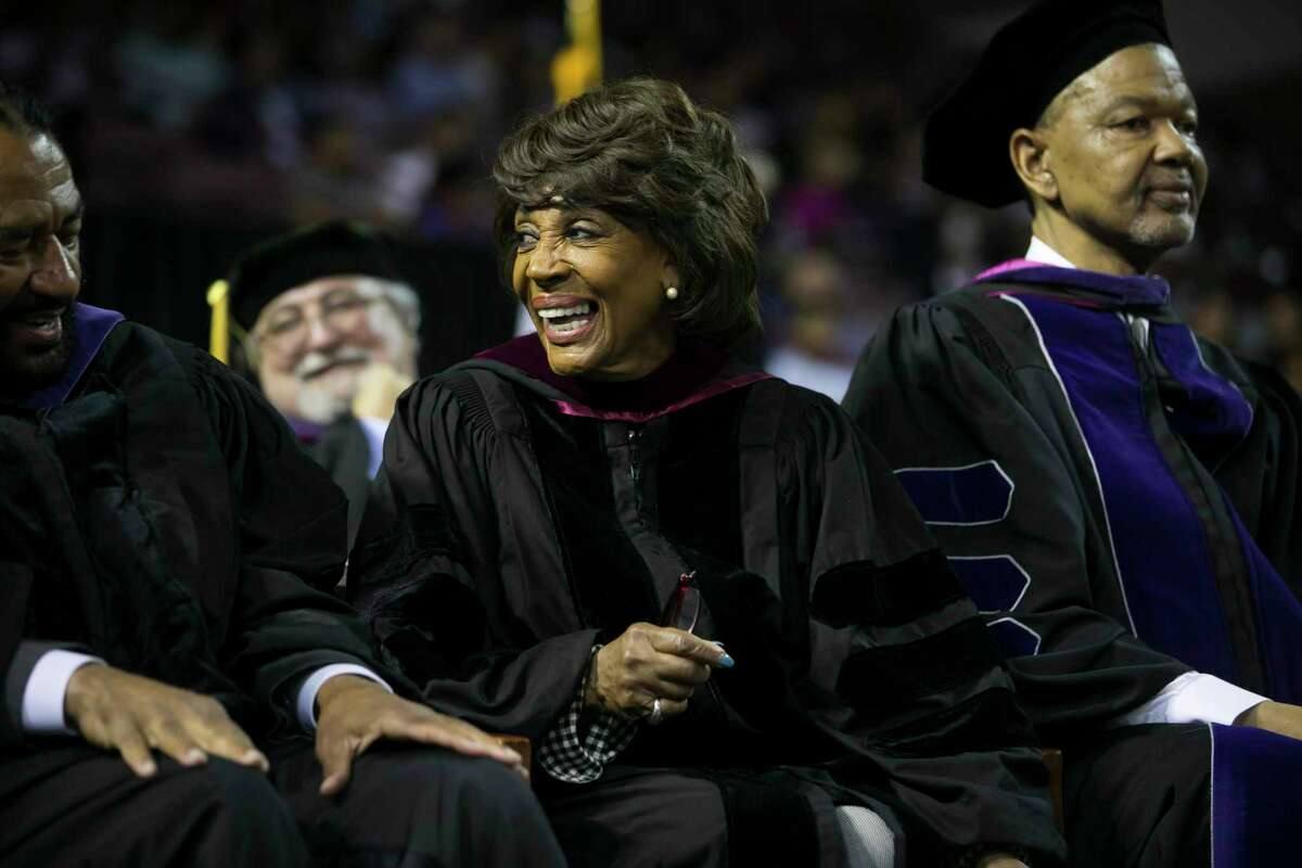 Congresswoman Maxine Waters laughs during Texas Southern University's Thurgood Marshall School 2018 Hooding Ceremony on Friday, May 11, 2018.
