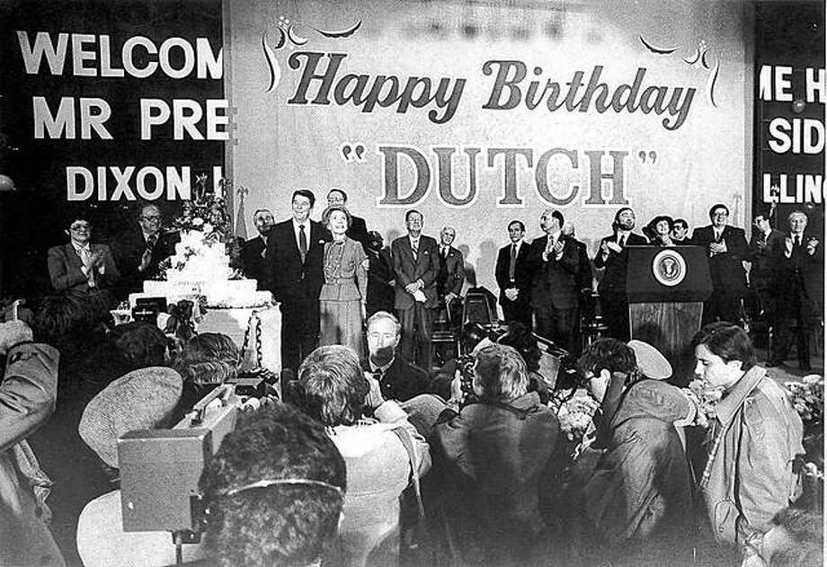 The city gets ready to celebrate President Ronald Reagan's 73rd birthday in the Lancaster Gym at Dixon High School on Feb. 6, 1984. Photo:       Dixon Telegraph File