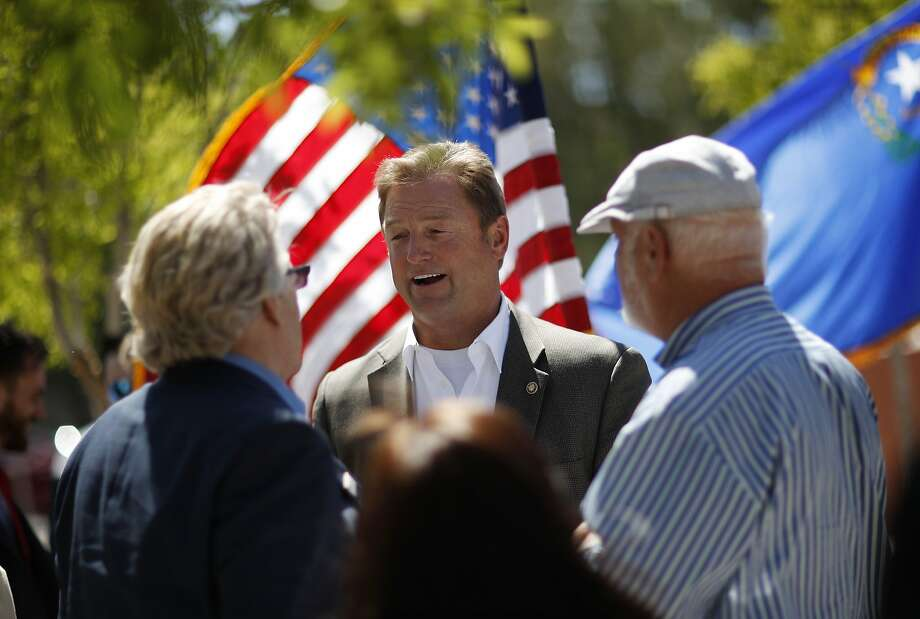 Republican Sen. Dean Heller attends a picnic for veterans last month in Las Vegas. Analysts predict a tight campaign. Photo: John Locher / Associated Press