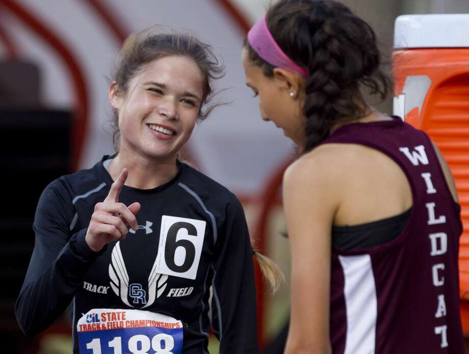 Sophie Lasswell of Oak Ridge smiles after finishing first in the Class 6A girls 3,200-meter run during the UIL State Track & Field Championships at Mike A. Myers Stadium, Saturday, May 12, 2018, in Austin. Photo: Jason Fochtman/Houston Chronicle