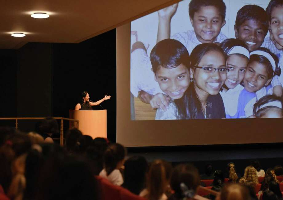 Shaheen Misrtri of Teach for India speaks at Greenwich Academy in Greenwich, Conn. Wednesday, May 9, 2018. Greenwich Academy Alumnae Megan Mukuria of ZanaAfrica and Shaheen Misrtri of Teach for India spoke about their careers as social entrepreneurs and lifelong dedication to advocating for the rights of girls in Kenya and India. Photo: Tyler Sizemore / Hearst Connecticut Media / Greenwich Time
