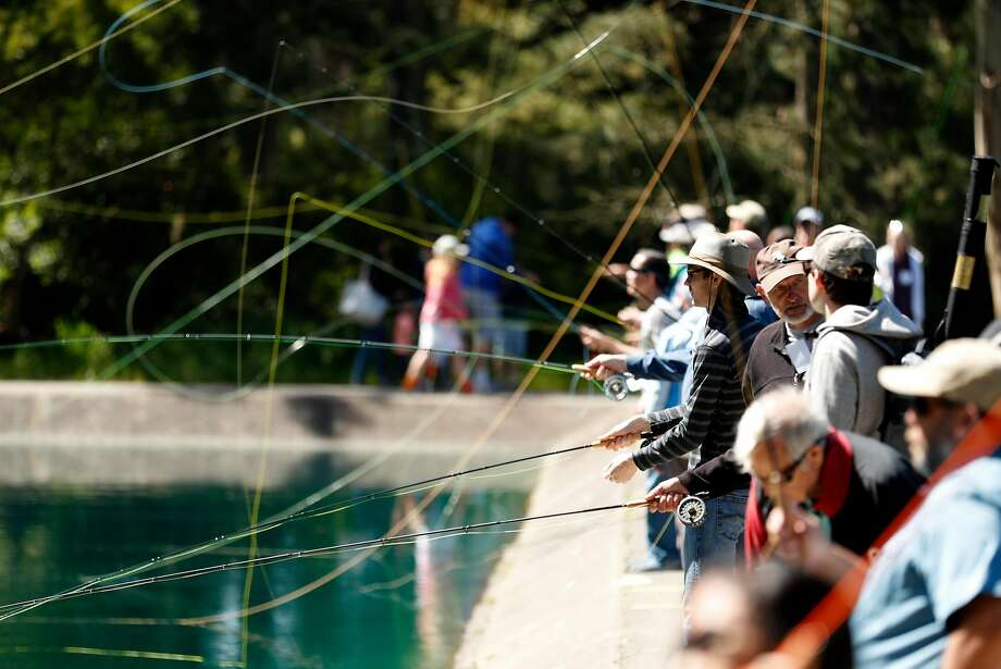 The Golden Gate Angling and Casting Club celebrated two concurrent anniversaries — 80 years since the facilities were built and 85 years since the club was formed — with free fly-casting lessons. Photo: Scott Strazzante / The Chronicle