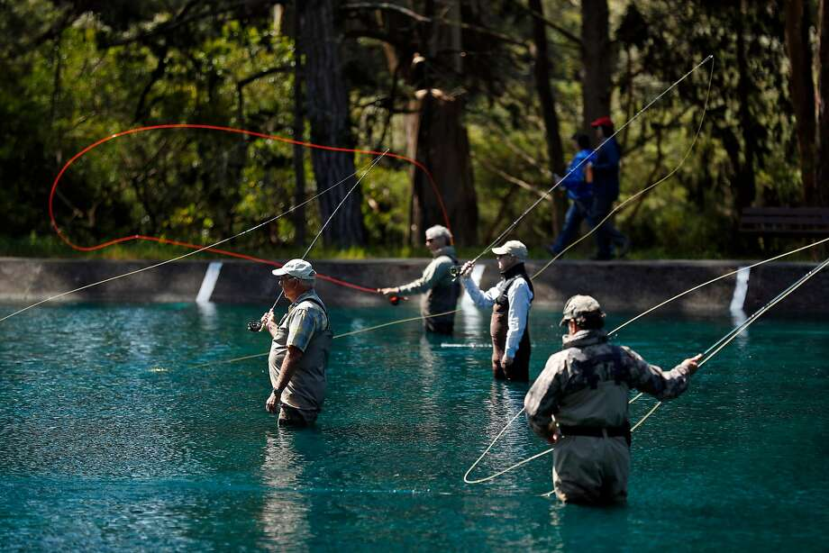 The Anglers Lodge and Casting Pools celebrate their 80th anniversary with free fly casting lessons in Golden Gate Park in San Francisco, CA on Saturday, May 12, 2018. Photo: Scott Strazzante / The Chronicle