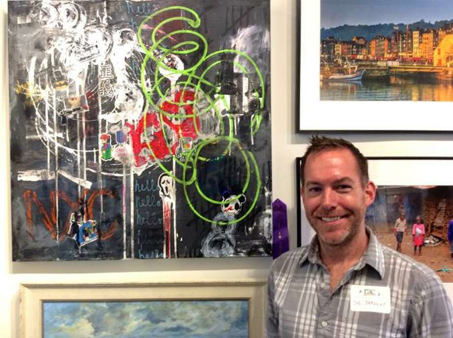 """Joseph Dermody, an artist from Greenwich, won Best in Show for his mixed media piece, """"1995,"""" for an exhibit now on display at the Rowayton Arts Center. Photo: Contributed"""