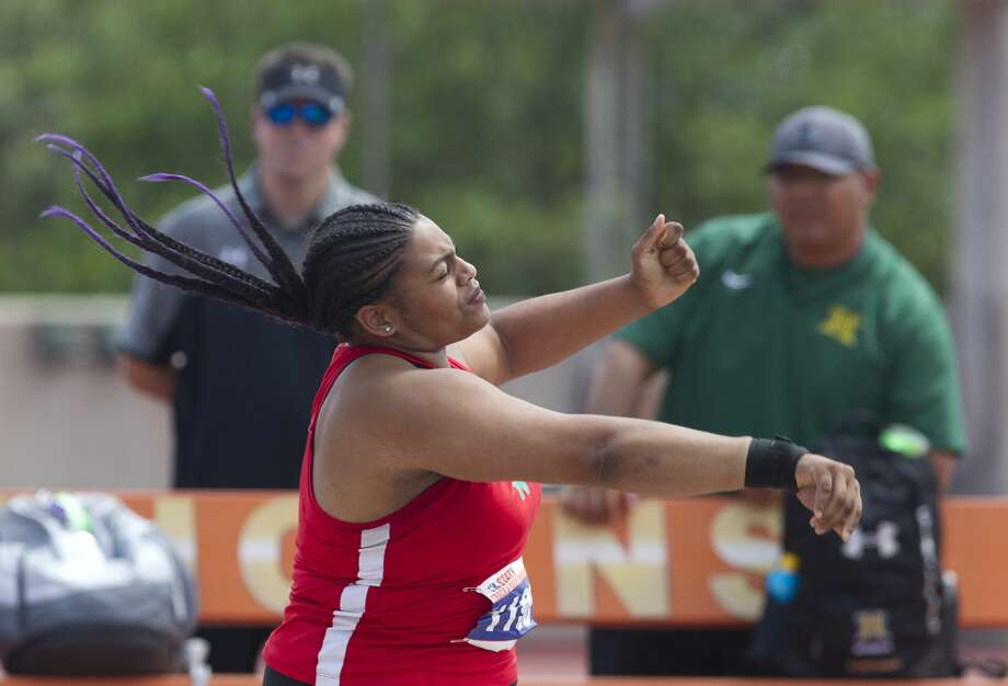 Nya Harmon of The Woodlands competes in the Class 6A girls shot put during the UIL State Track & Field Championships at Mike A. Myers Stadium, Saturday, May 12, 2018, in Austin. Photo: Jason Fochtman/Houston Chronicle