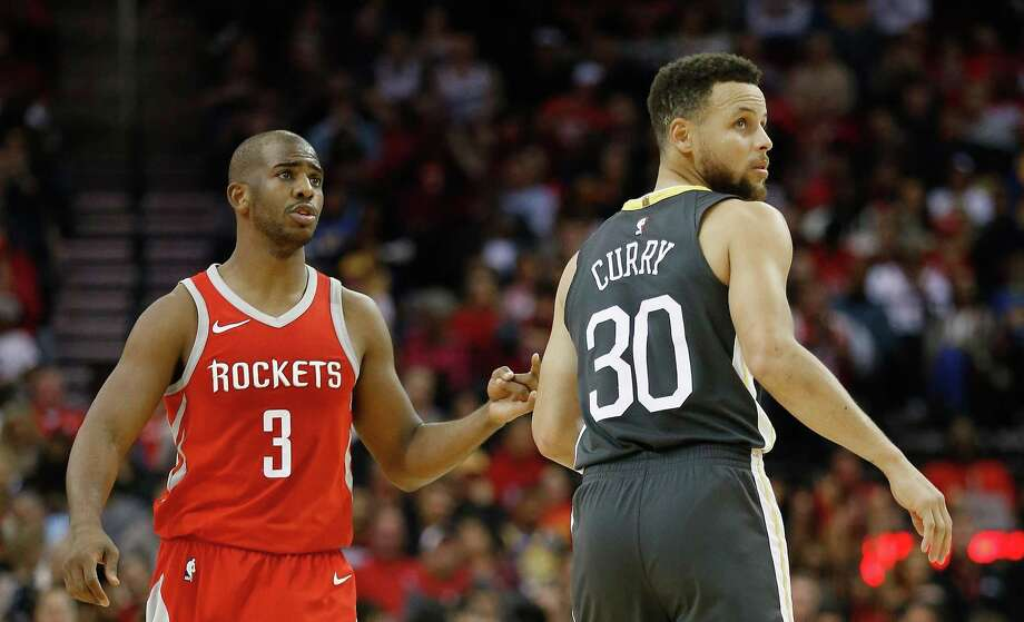 HOUSTON, TX - JANUARY 20:   Chris Paul #3 of the Houston Rockets and Stephen Curry #30 of the Golden State Warriors at Toyota Center on January 20, 2018 in Houston, Texas. NOTE TO USER: User expressly acknowledges and agrees that, by downloading and or using this photograph, User is consenting to the terms and conditions of the Getty Images License Agreement.  (Photo by Bob Levey/Getty Images) Photo: Bob Levey / Getty Images / 2018 Bob Levey