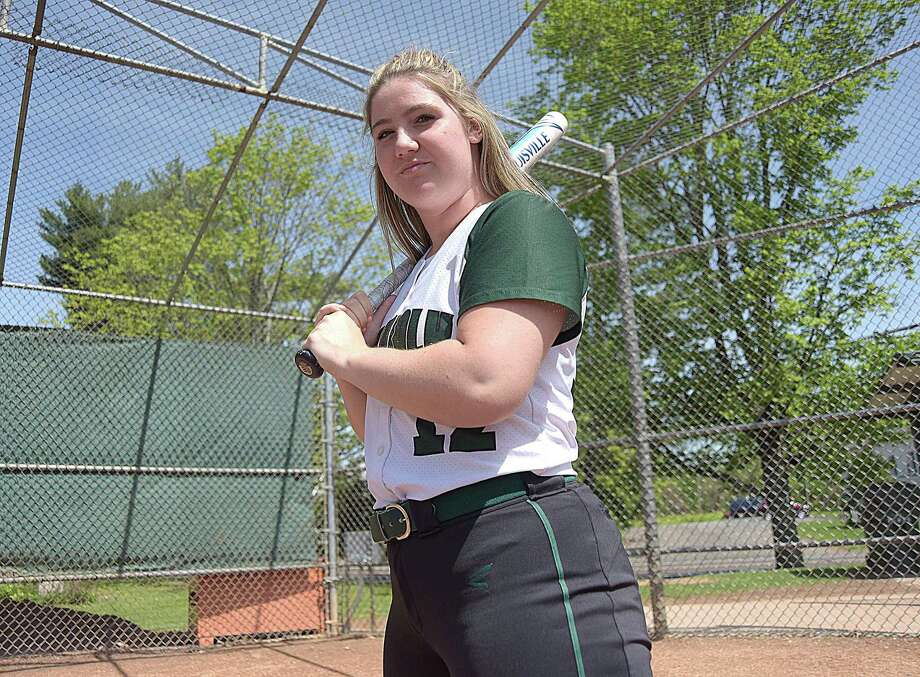 Norwalk High senior catcher Dina DiBlasio is one of the best softball hitters in the FCIAC, and the state, and she has the numbers to prove it. Photo: John Nash / Hearst Connecticut Media