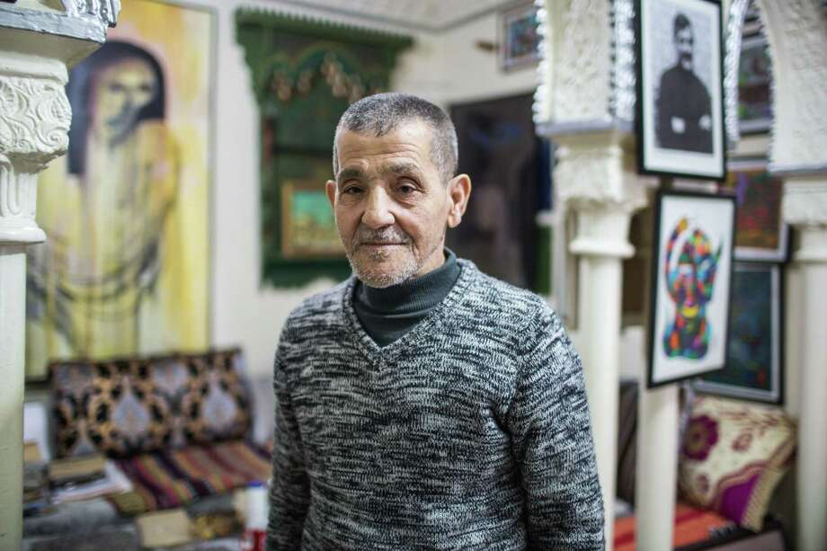 Writer and artist Mohammed Mrabet, 83, at his home in Tangier, Morocco. Photo: Photo For The Washington Post By Yoriyas Yassine Alaoui / Yoriyas Yassine Alaoui