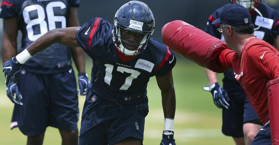The Houston Texans rookie wide receiver Vyncint Smith is photographed during a training drill at the 2018 Houston Texans Rookie Minicamp on Saturday, May 12, 2018, in Houston. ( Yi-Chin Lee / Houston Chronicle ) Photo: Yi-Chin Lee/Houston Chronicle
