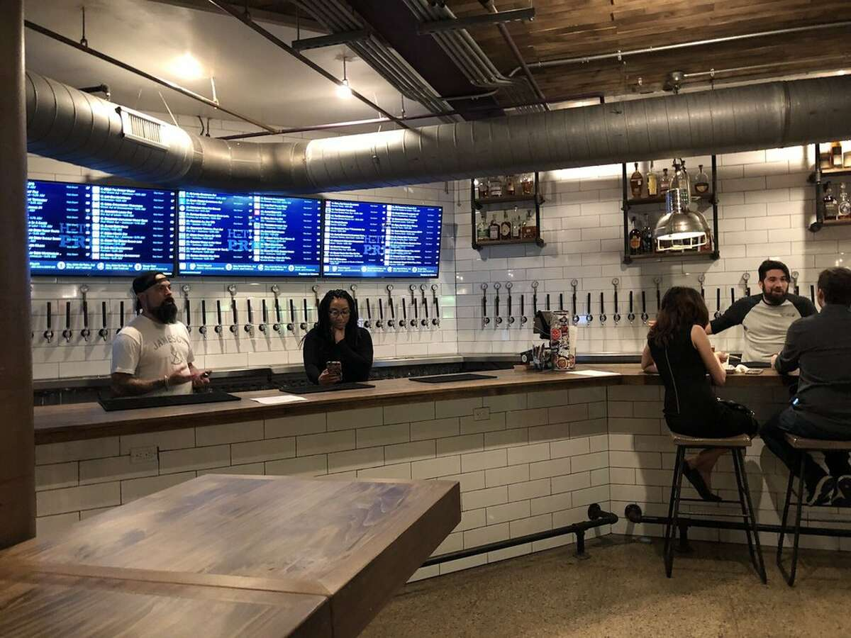 Conservatory barThe bar at this underground food hall downtown has 60 beers and a few wines on tap. The beer lineup is broken down into styles: light, wheat, ambers, hoppy, Belgian, dark and sour, and cider/stouts. 1010 Prairie, 713-398-7697; conservatoryhtx.com. Inner Loop Photo: Jenny T./Yelp