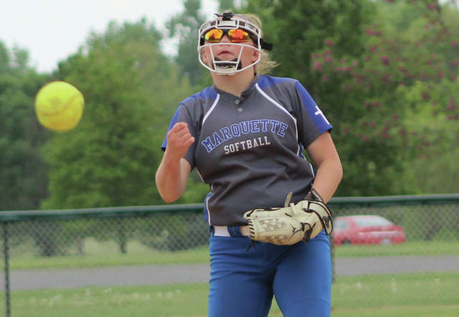 Marquette Catholic sophomore Taylor Whitehead delivers a pitch to the plate during her shutout of Waterloo Gibault on Saturday at Moore Park in Alton. The Explorers' No. 2 hurler is 10-0 with a 0.23 ERA. Photo:       Greg Shashack / The Telegraph