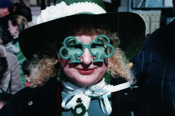 In this 1994 file photo Sandy Underhill was decked out for the Greater New haven St. Patrick's Day Parade