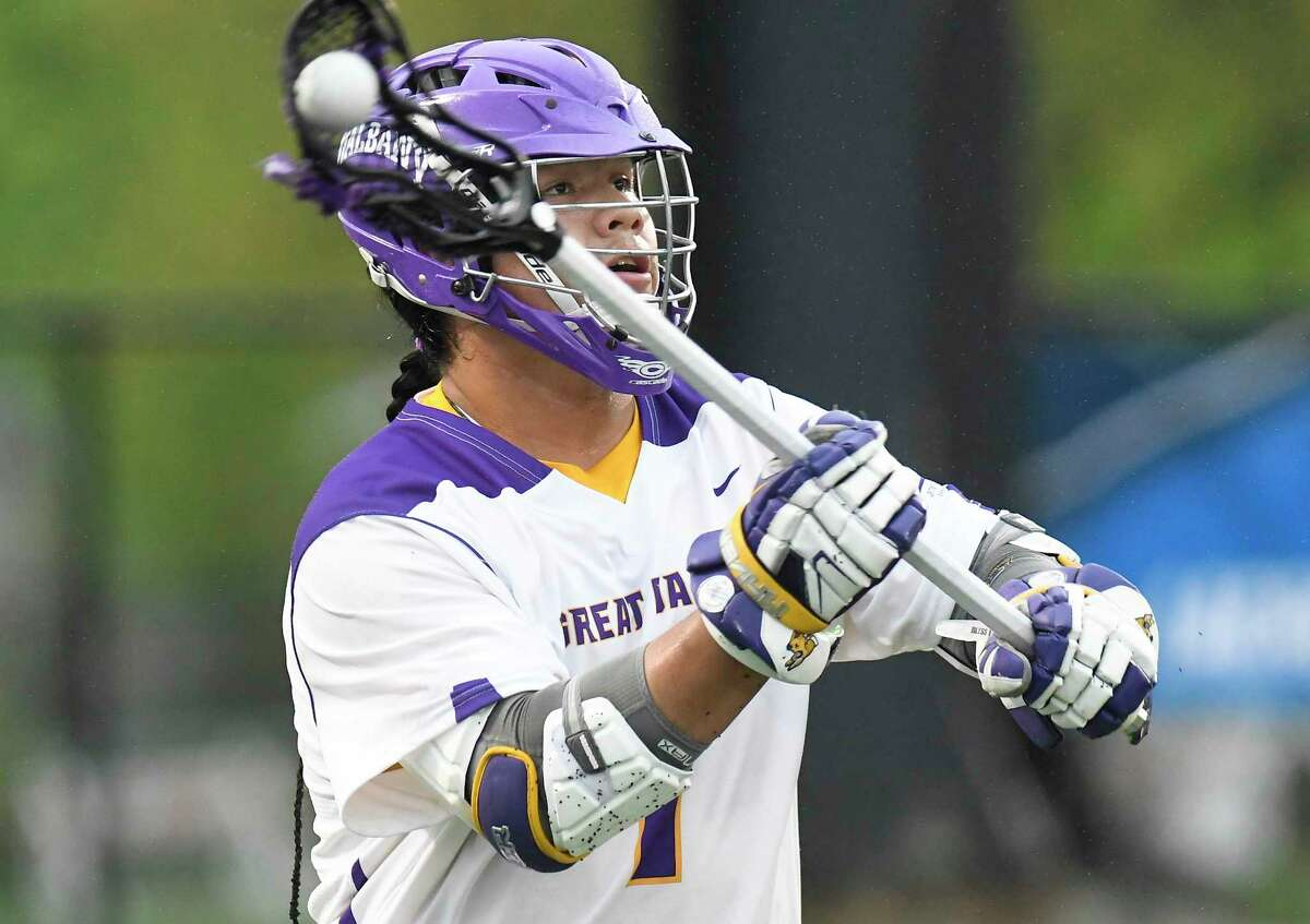 UAlbany's Tehoka Nanticoke (1) shoots a goal against Richmond during a NCAA Tournament first-round Division I lacrosse game Saturday, May 12, 2018, in Albany, N.Y.