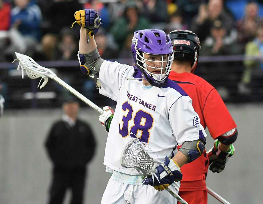UAlbany's Sean Eccles (38) celebrates his goal against Richmond during a NCAA Tournament first-round Division I lacrosse game Saturday, May 12, 2018, in Albany, N.Y. Photo: Hans Pennink, Times Union / Hans Pennink