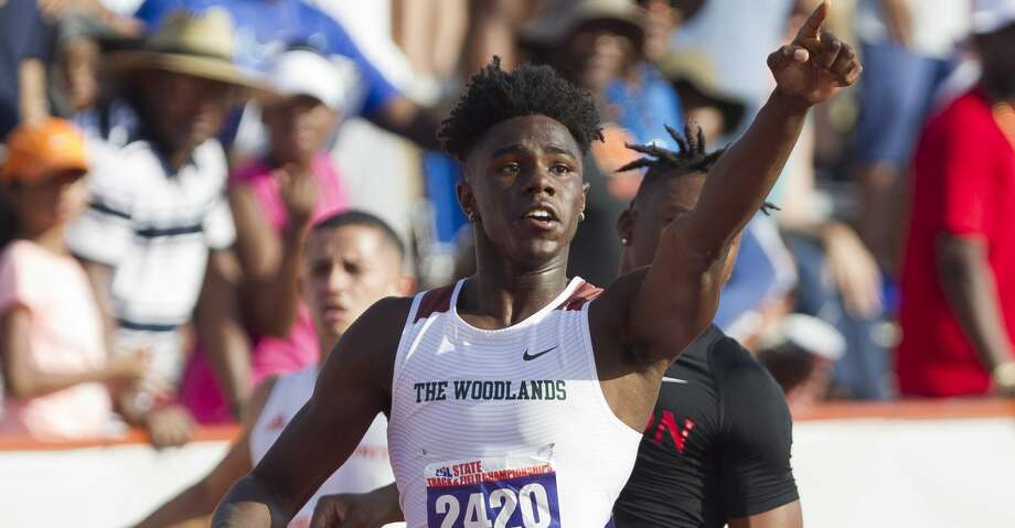 Kesean Carter of The Woodlands reacts after winning the Class 6A boys 100-meter dash The Woodlands competes in the Class 6A boys 400-meter relay during the UIL State Track & Field Championships at Mike A. Myers Stadium, Saturday, May 12, 2018, in Austin. Photo: Jason Fochtman/Houston Chronicle