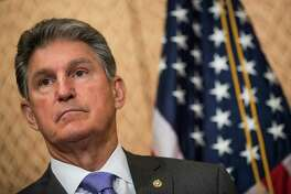 WASHINGTON, DC - JUNE 27:  U.S. Sen. Joe Manchin (D-WV) looks on during a news conference to discuss the national opioid crisis, on Capitol Hill June 27, 2017 in Washington, DC. The Democratic senators discussed the opioid issue and how it relates to the Senate health care bill being considered.  (Photo by Drew Angerer/Getty Images) ORG XMIT: 700072603
