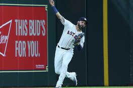 Houston Astros left fielder Marwin Gonzalez (9) throws the ball back to the infield during the top third inning of the MLB game against the Texas Rangers at Minute Maid Park on Saturday, May 12, 2018, in Houston. ( Yi-Chin Lee / Houston Chronicle )