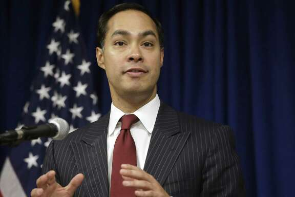 In this Aug. 31, 2016 file photo, then-U.S. Department of Housing and Urban Development Secretary Julián Castro speaks during a news conference in Providence, Rhode Island.