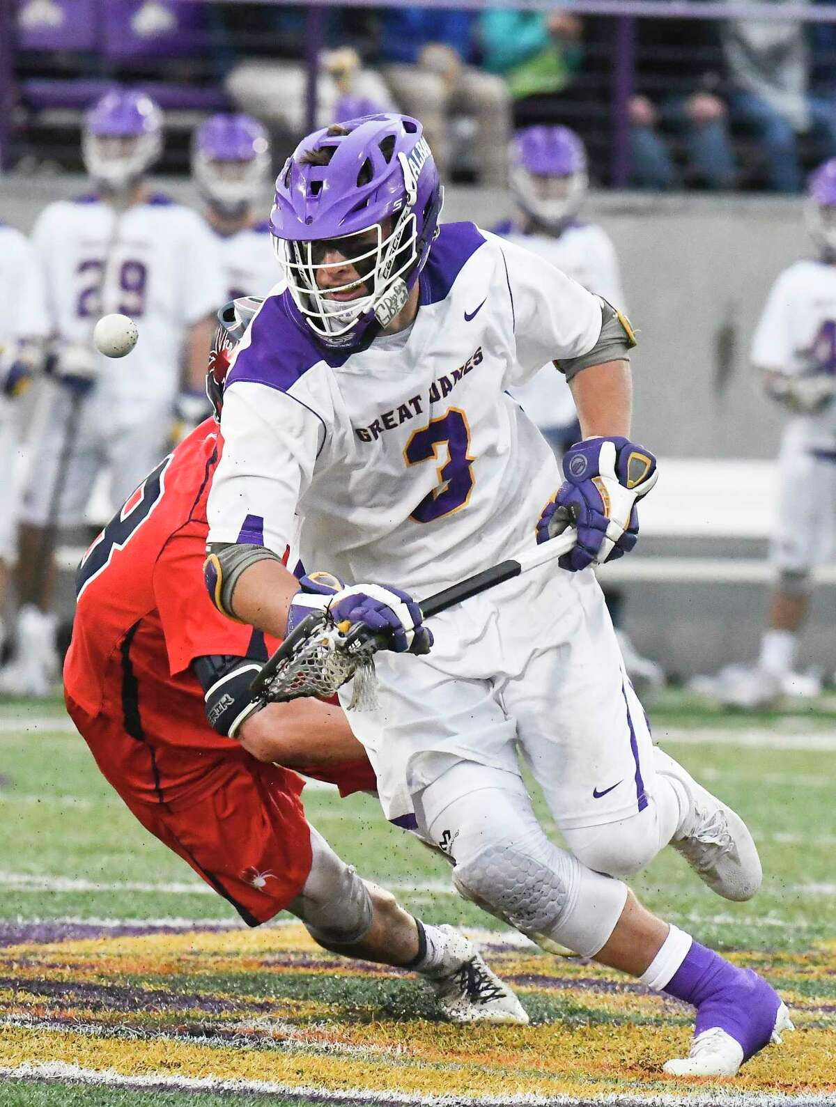 UAlbany's TD Ierlan (3) wins a face-off against RichmondOs Nick D'amaro (38) during a NCAA Tournament first-round Division 1 lacrosse game Saturday, May 12, 2018, in Albany, N.Y. (Hans Pennink / Special to the Times Union)