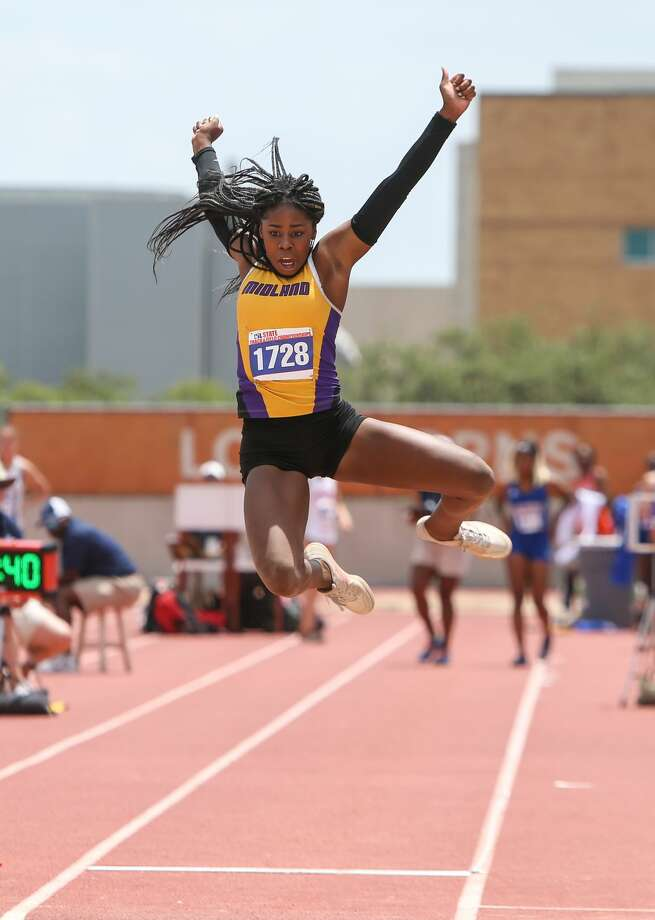 Sametria Smith of Midland High School jumps in the Class 6A girls long jump event at the UIL State Track and Field Meet at Mike A. Myers Stadium in Austin, Texas on Saturday, May 12, 2018. Photo: Scott W. Coleman