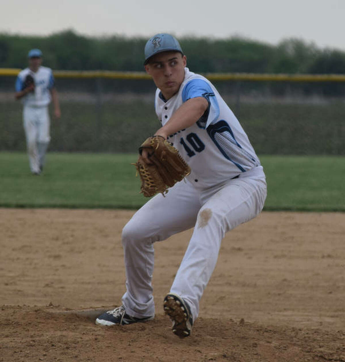 John Shaner (10) delivers a pitch during a game against Camp Point.