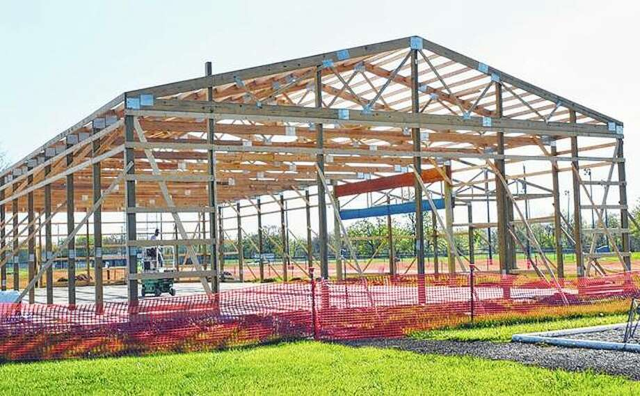 When completed, a new pavilion will include a stage, food service area and seating. Photo:       Kathleen Clark | Journal-Courier