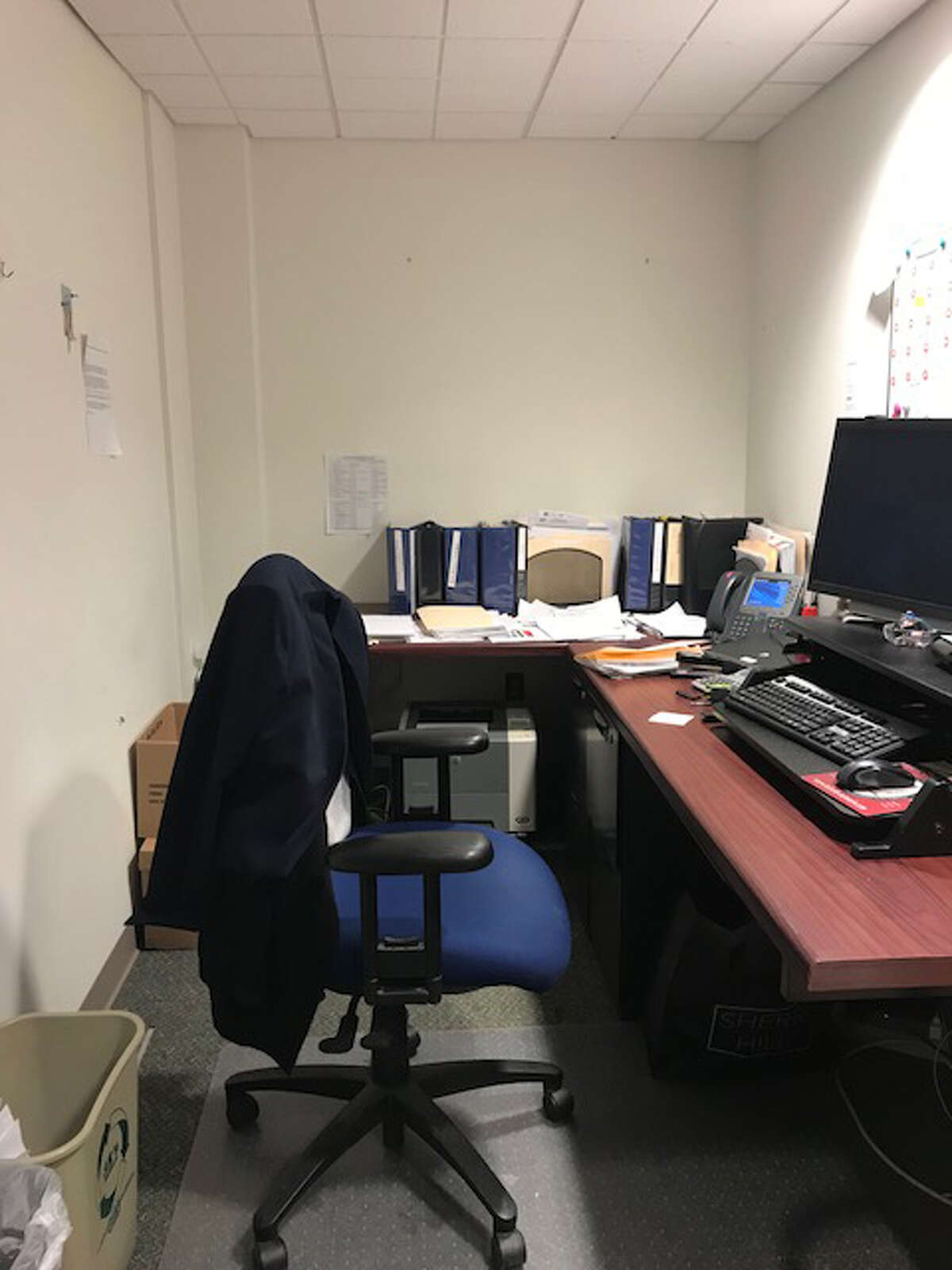 Kimberly Schiavone, a DCJS employee, was transferred against her wishes and ordered to take this office that was previously used as a closet after she cooperated in a sexual harassment investigation last year.