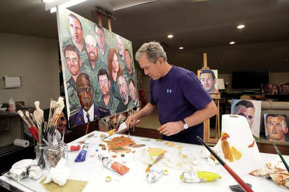 Former President George W. Bush painting. He has released a book of portraits of wounded warriors, men and women wounded in the wars in Afghanistan and Iraq.