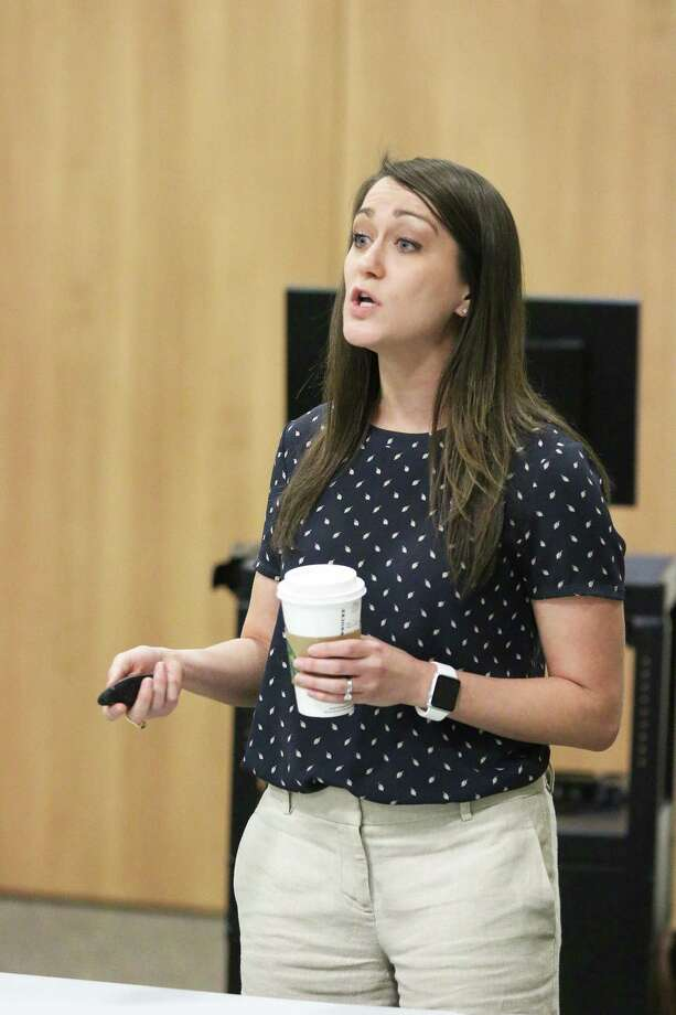 Katie Landry-Guyton, the senior service hydrologist at the National Weather Galveston/Houston, was the special guest at the Liberty County 2018 Public Hurricane Preparedness Workshop hosted by the Liberty County Office of Emergency Management on Thursday, May 10, at the Dayton Community Center. Photo: David Taylor / HCN